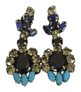 J.Crew Dark blue and Chrystal earrings