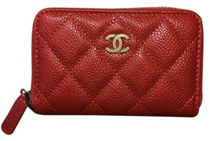 Chanel Chanel Orange Caviar Leather Zip Around Coin Purse