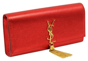 Saint Laurent Metallic Monogram Wallet On Chain Tassel Red Clutch