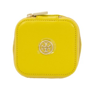 Tory Burch Robinson Saffiano Leather Jewelry Case/Bag - Sunshine