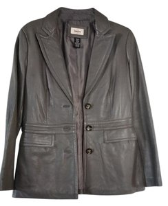 Neiman Marcus Lambskin Gray Leather Jacket