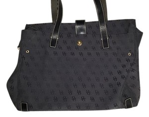 Dooney & Bourke Canvas Leather Accent Tote in Black