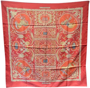 Hermès Authentic Hermes Vintage Cuirvreries Silk Scarf In Red and Black