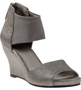 Eileen Fisher Metallic Leather Pewter Wedges
