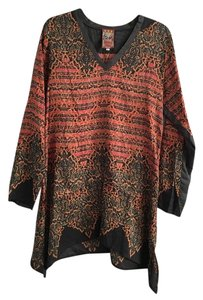 Johnny Was Silk Flowy Print Longsleeve Tunic