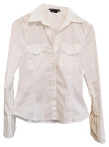 BCBGMAXAZRIA Stretchy Cotton Classic Button Down Shirt white