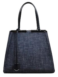 Fendi Black White Denim Leather Top Handle 3 Jours Tote in Blue