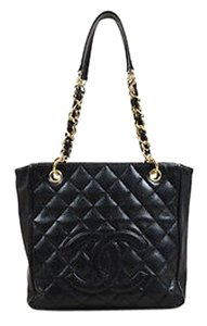 Chanel Caviar Leather Quilted Cc Ghw Shopping Tote in Black