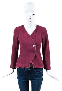 Chanel Boutique Raspberry Pink Button Up Collarless Ls Pink,Silver,Raspberry Pink Jacket