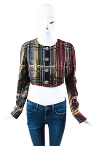 Chanel Runway 2015 Tweed Cotton Cropped Long Sleeve Multi-Color Jacket