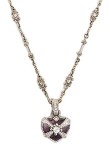 Judith Ripka Judith Ripka 18k White Gold Amethyst Diamond Embellished Heart Pendant Necklace