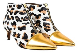 Marni Black Tan Gold Leopard Print Pony Hair Cap Toe Ankle Multi-Color Boots