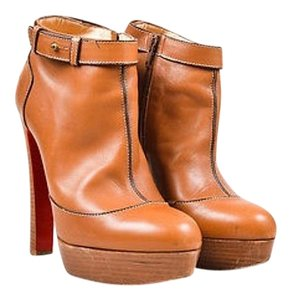 Christian Louboutin Tan Leather Platform Et Dun Ankle Brown Boots