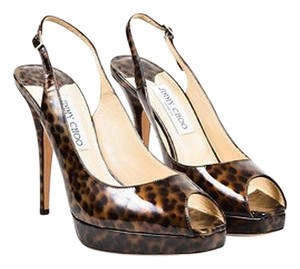 Jimmy Choo Black Patent Animal Print,Black,Brown,Black, Brown Pumps