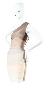 Hervé Leger Taupe Cream Bodycon Bandage One Dress