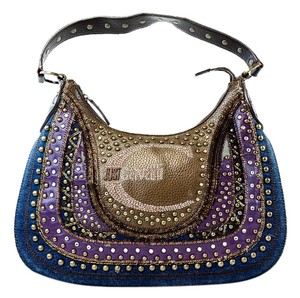 Just Cavalli Denim Studded Sequin Shoulder Bag
