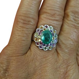Other 4.20CT EMERALD MULTI GEMS 14K PLATED STERLING SILVER COAKTAIL RING