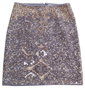Anthropologie Sequin Beaded Skirt Gray silver