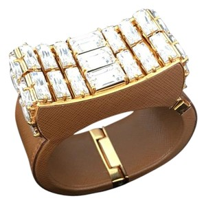 Prada Prada Runway Crystal Bow Leather Cuff Bracelet