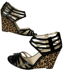 Calvin Klein Black Leather Straps with Animal Print Calf Wedge Wedges