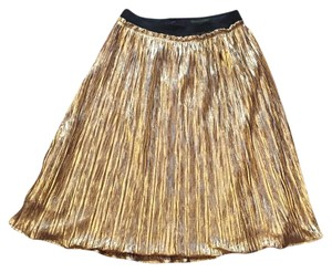 ASTR Pencil A-line Pleated Holiday Metallic Skirt Gold
