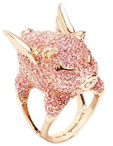 Tory Burch New Kate Spade Pave Flying Pig Cocktail Ring Pink Pave Sz 6