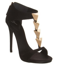 Giuseppe Zanotti Studded Suede Leather Black Sandals
