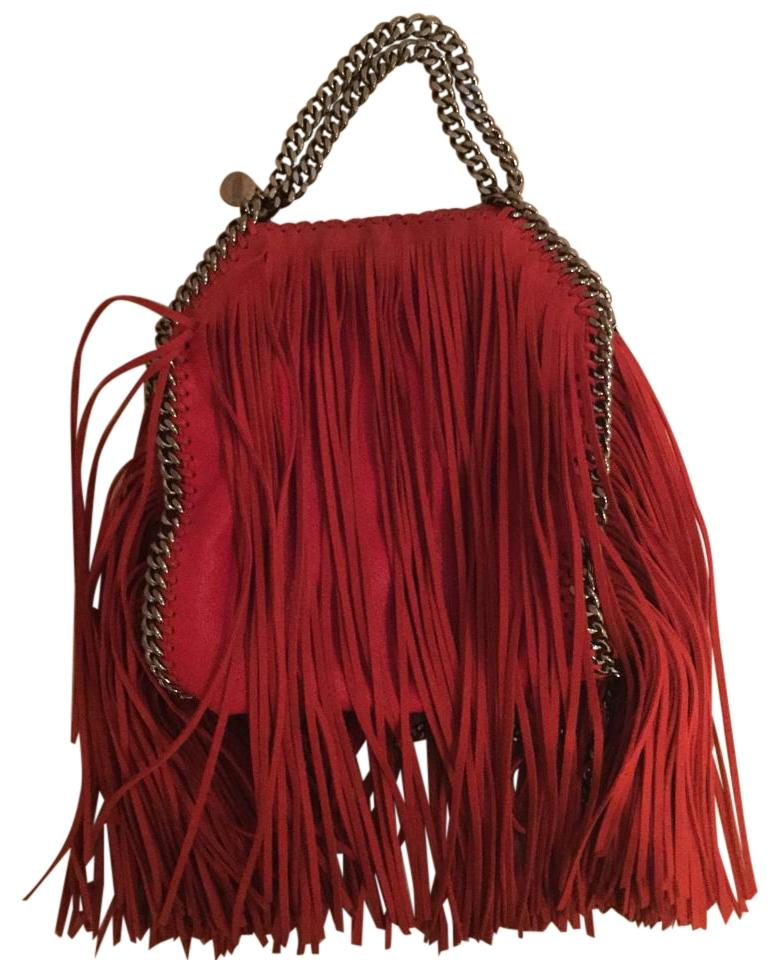 0591bbe77eee Stella McCartney Fringe Suede Mini Falabella Chain Red Cross Body Cherry  Vegan Shoulder Bag