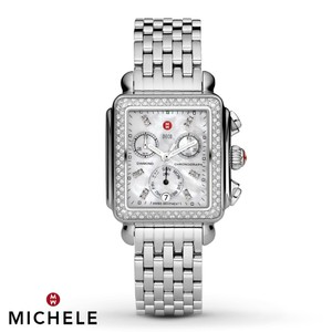 Michele NEW Deco Signature Diamond Dial Steel MWW06P000099 Ladies Watch