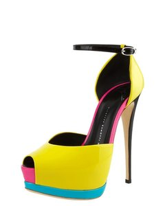 Giuseppe Zanotti Hidden Neon Peep Toe Color-blocking Stiletto Yellow, Pink, Blue Platforms