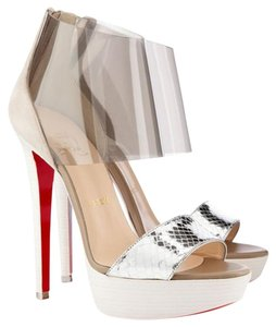 Christian Louboutin Snakeskin Zipper Lucite Platform Suede silver, clear Sandals