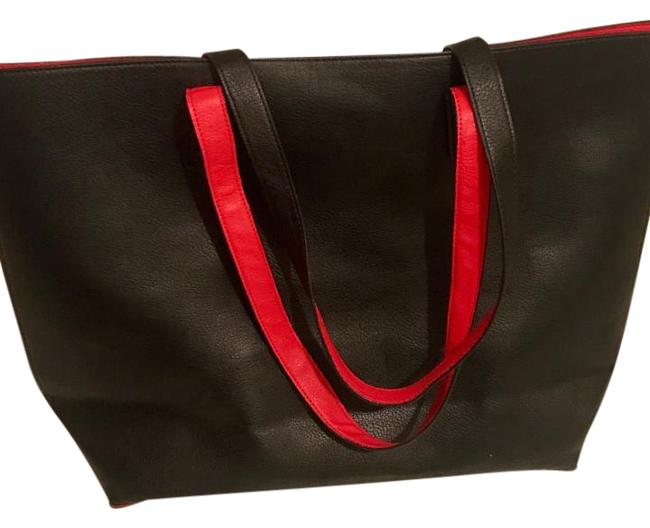 Item - Reversible Black & Red Faux Leather Tote