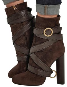 Tom Ford Gold Metal Woven Buckled Brown Boots