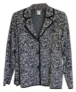 Misook Holiday Silver Pattern Sheer Black & White Blazer
