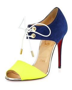 Christian Louboutin Suede Cobalt Leather Red Sole Neon yellow, blue Sandals