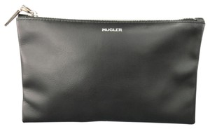 Mugler Black Leather Silver Logo Zip Pouch