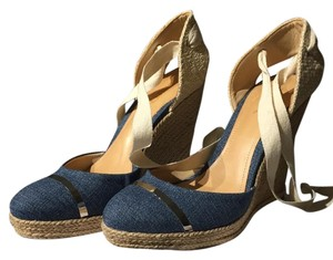 SCHUTZ Vacation Beach Nwt Denim / Natural Wedges