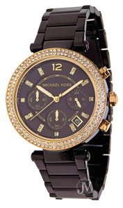 Michael Kors NEW WOMENS MICHAEL KORS (MK6107) PARKER BLACK GOLD GLITZ CHRONO WATCH