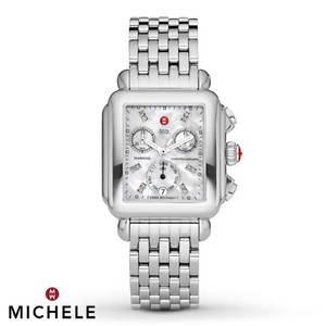 Michele NEW Michele Deco Diamond Dial Steel MWW06P000014 Ladies Watch