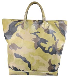 Junya Watanabe Camouflage Leather Print Stud Tote in Green