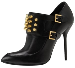 Gucci Studded Metallic Metal Engraved Gold Hardware Black Boots