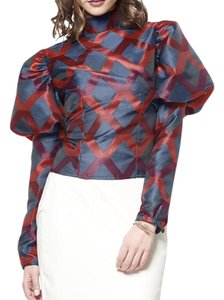 Gracia Puff Sleeve Button Down Shirt Red