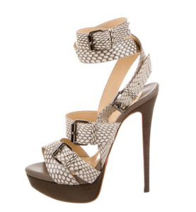 Christian Louboutin Snakeskin Strappy Buckle Platform Gunmetal natural Sandals