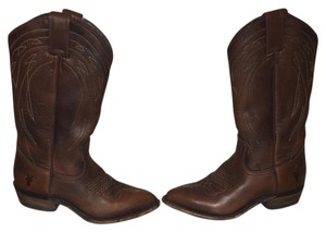 Frye Leather Cowboy Brown Boots