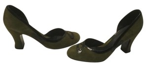 John Fluevog Rounded Toes Patent Trim Made Peru Olive green suede all leather Pumps