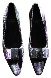 Charles Jourdan Purple Pony Moire Black Pumps