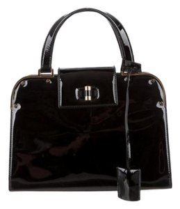 Saint Laurent Turnlock Tote Handbag Engraved Satchel in Black