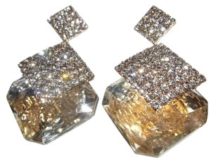 Other Crystals Gold Diamond Drop Earrings, Angie Wearing