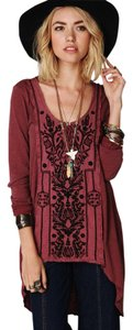 Free People Embroidered Tunic High Low Unique Boho Top Rust