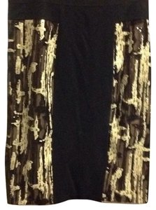 BCBGMAXAZRIA Skirt Black with black, gold and white sequins